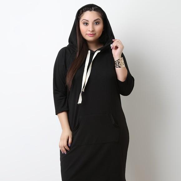 515ba7c0ca67e Plus Size Jersey Knit Hoodie Midi Sweater Dress
